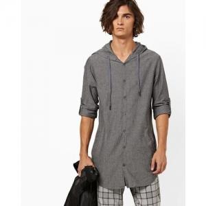 AJIO Hooded Slim Fit Shirt with Roll-Tab Sleeves