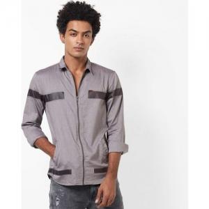 AJIO Slim Fit Zip-Front Shirt