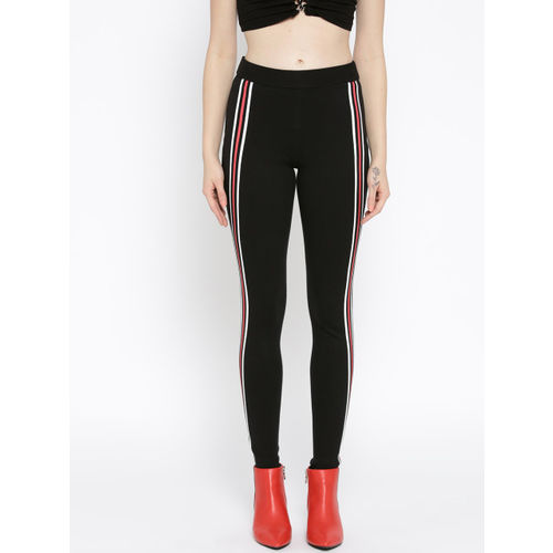 Rider Republic Women Black Solid Slim Fit Treggings with Striped Detail