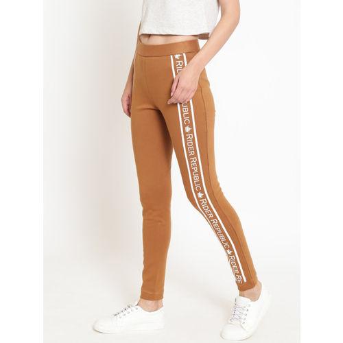 Rider Republic Women Brown Slim Fit Solid Treggings