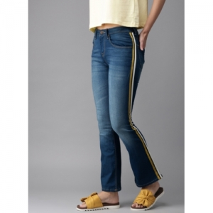 HERE&NOW Blue Bootcut Mid-Rise Clean Look Stretchable Striped Jeans