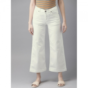 a2cf6abc4141cf HERE&NOW Women White Wide Leg Regular Fit Mid-Rise Clean Look Stretchable Cropped  Jeans