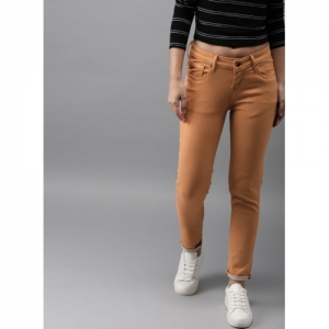 HERE&NOW Tan Skinny Fit Mid-Rise Clean Look Stretchable Jeans