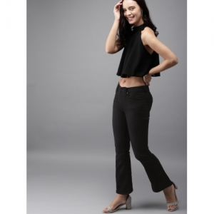 HERE&NOW Women Black Flared Mid-Rise Clean Look Stretchable Jeans