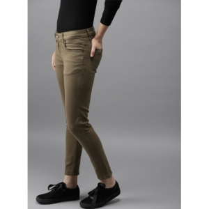 HERE&NOW Olive Green Skinny Fit Mid-Rise Clean Look Stretchable Jeans