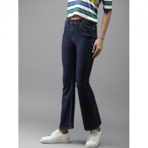 HERE&NOW Women Blue Flared Fit High-Rise Clean Look Stretchable Jeans