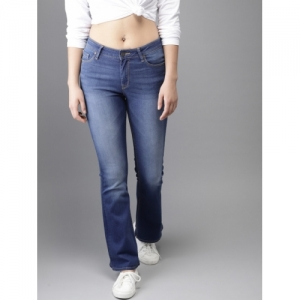 HERE&NOW Women Blue Mid-Rise Clean Look Stretchable Flared Jeans