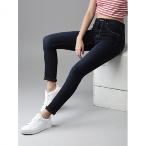 a134eb65386afc HERE&NOW Women Navy Skinny Fit High-Rise Clean Look Stretchable Jeans