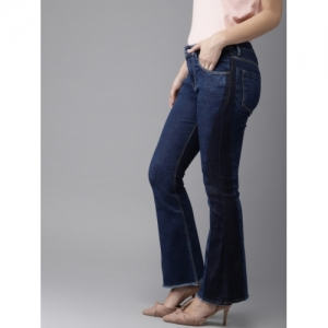 HERE&NOW Women Blue Flared Mid-Rise Clean Look Stretchable Jeans
