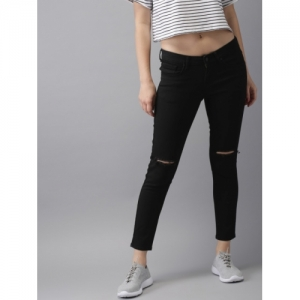 HERE&NOW Women Black Ankle Skinny Fit Mid-Rise Clean Look Stretchable Jeans