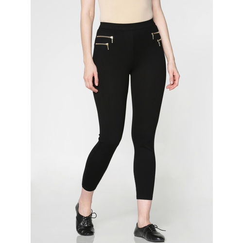 ONLY Women Black Solid High-Rise Three-Fourth Treggings