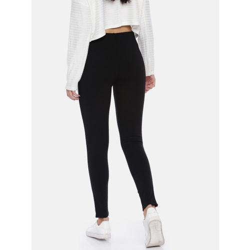 Kraus Jeans Women Black Solid Skinny Fit Treggings