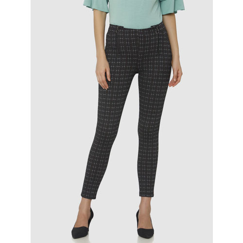 Vero Moda Women Black & Brown Skinny Fit Checked Ankle Length Treggings