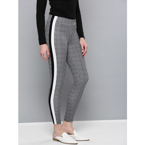 Harpa Women Black & White Self-Checked Treggings