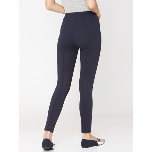 Vero Moda Women Navy Solid Ankle Length Treggings