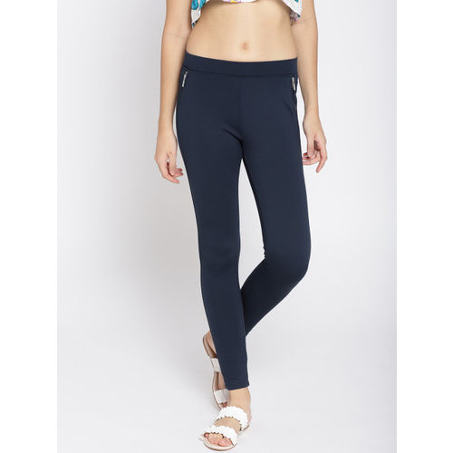 Elle Women Navy Blue Solid Treggings