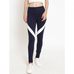 2eebc9e175ca58 Buy FOREVER 21 Navy Blue Cotton Spandex Self-Striped Ankle-Length ...