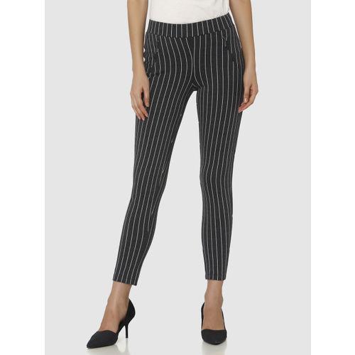 Vero Moda Women Charcoal Grey & White Striped Treggings