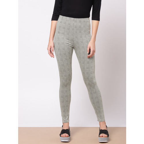 Ether Women Grey & Black Checked Treggings