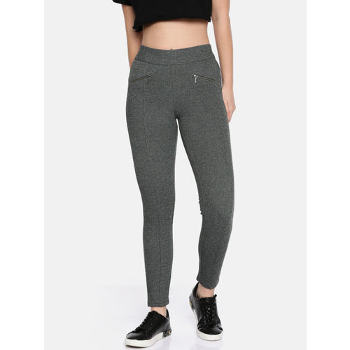 Kraus Jeans Women Grey Solid Woven Treggings