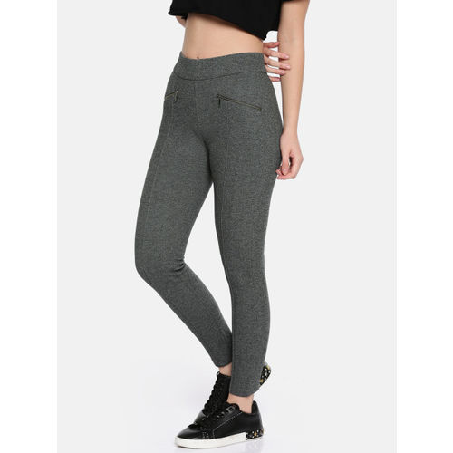 Kraus Jeans Women Grey Solid Woven Treggings