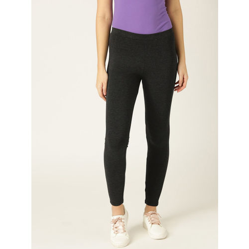 United Colors of Benetton Women Charcoal Grey Solid Treggings