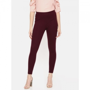 CODE by Lifestyle Women Burgundy Solid Treggings