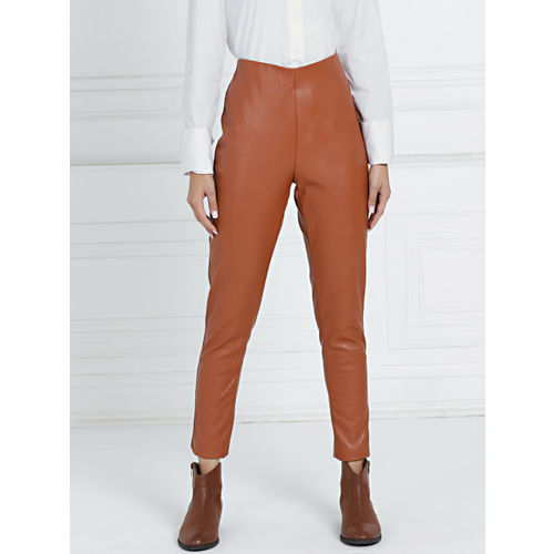 all about you By Deepika Padukone Brown Solid Faux Leather Regular Fit Treggings