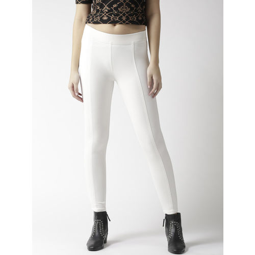 Xpose Women Off-White High-Rise Skinny Fit Solid Treggings