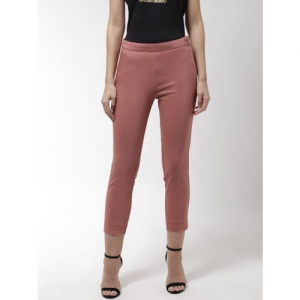 Madame Women Dusty Pink Solid Treggings