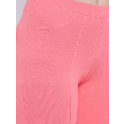 People Women Peach-Coloured Cropped Treggings