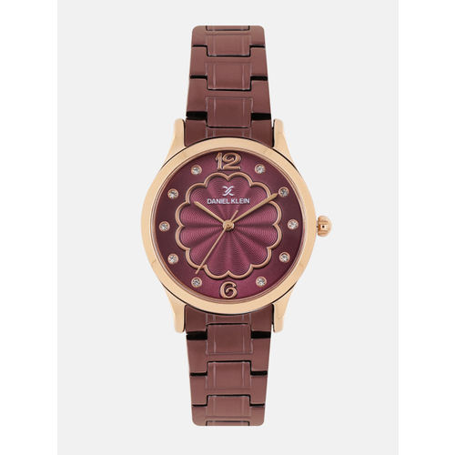 Daniel Klein Women Maroon Embellished Analogue Watch DK11990-6