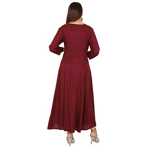 Maroon Rayon Embroidered Ankle Length Anarkali Kurti