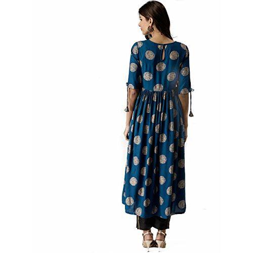 AnjuShree Choice Blue Rayon Printed Anarkali kurta