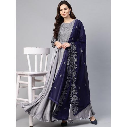 Inddus Women Grey & Navy Blue Yoke Design Anarkali Kurta with Dupatta