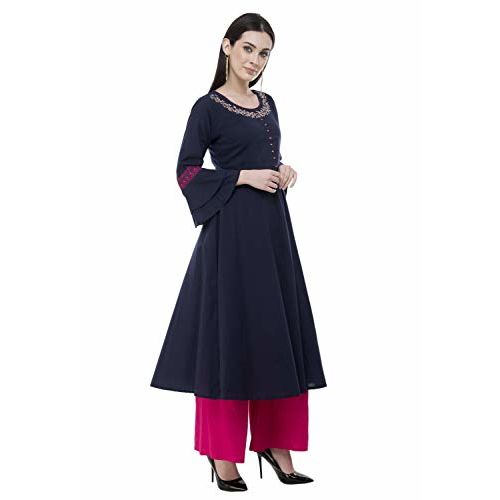 AnjuShree Choice Blue Cotton Embroidered Anarkali Kurti