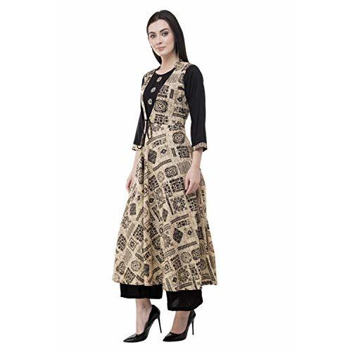 AnjuShree Choice Beige Cotton Printed Embroidered Anarkali Kurti