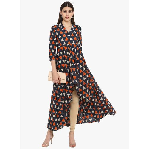 MBE Women Geometric Print Anarkali Kurta(Orange)