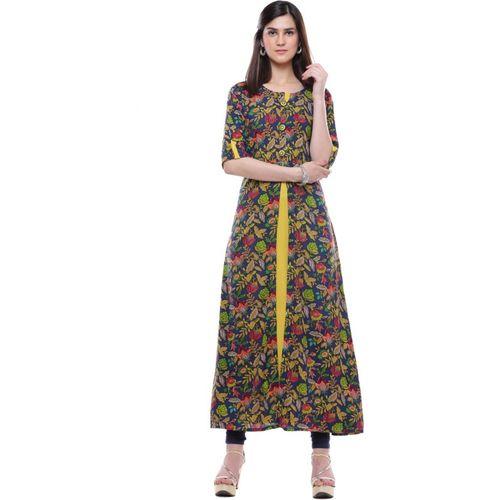 Divena Women Floral Print A-line Kurta(Yellow, Blue, Pink)