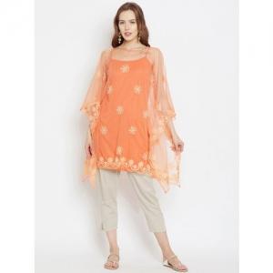 The Kaftan Company Women Orange Embroidered Kaftan Kurta
