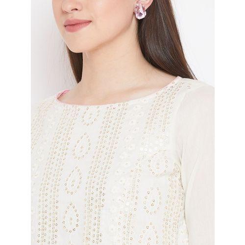 Biba Off-White & Pink Embroidered Kurta with Palazzos & Dupatta