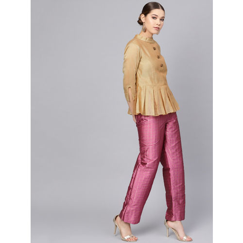 Inddus Women Beige & Pink Solid Top with Palazzos