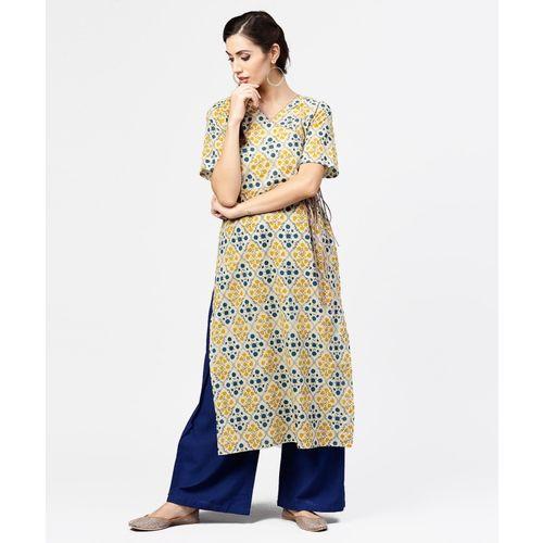 Aasi - House of Nayo Women Printed Straight Kurta(Yellow, Beige, Blue)