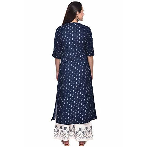 Pistaa's Women's Cotton Flex Ikat Printed A-Line Blue Kurta with Plus Size's