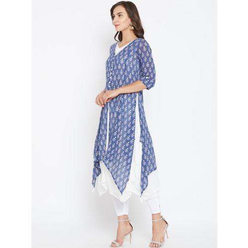 Biba Women Blue & White Printed Layered A-Line Kurta