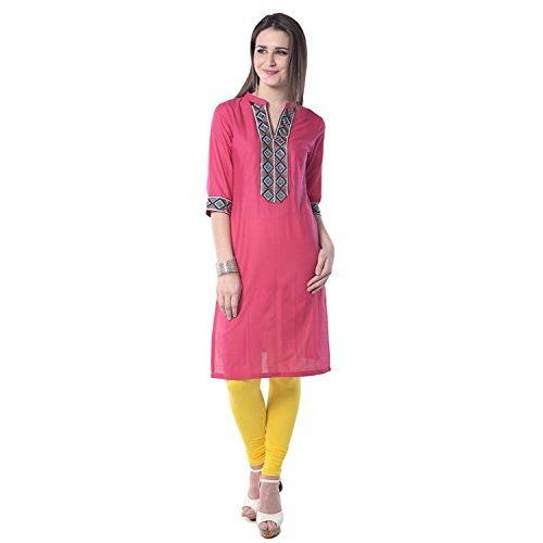 Aairah Women's Solid Pink Cotton Kurti
