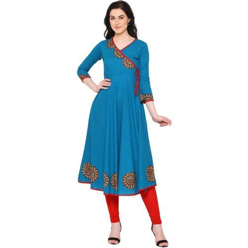 Yash Gallery Women Embellished Flared Kurta(Blue)