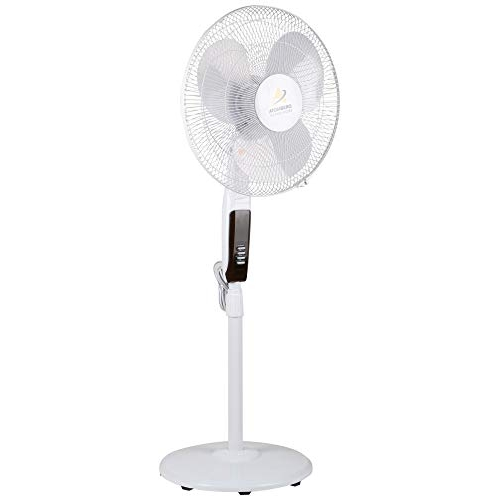 Gorilla 3 Blade 400MM Energy Efficient Pedestal Fan with LED & Remote (White)