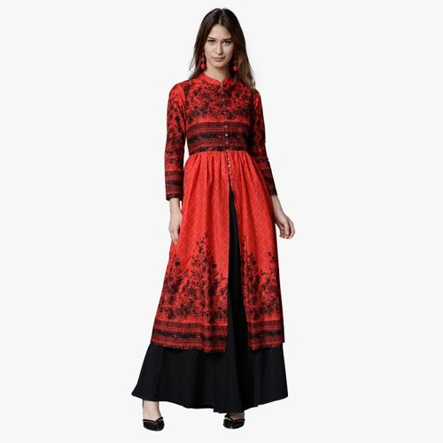Vishudh Women Floral Print Trail Cut Kurta(Red, Black)