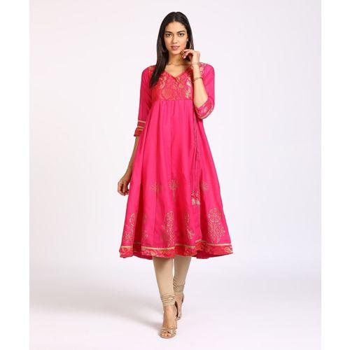 Rangriti Women Printed Anarkali Kurta(Pink)